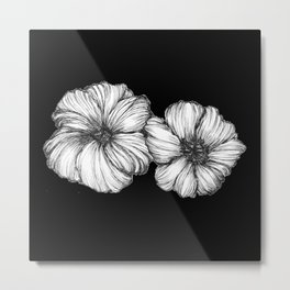Black Floral Ink II Metal Print