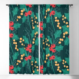Happy Holly Berry Christmas green decor Blackout Curtain