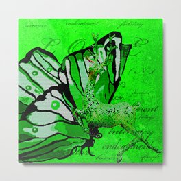 Butterfly REINDEER CELEBRATION in Green and White Metal Print