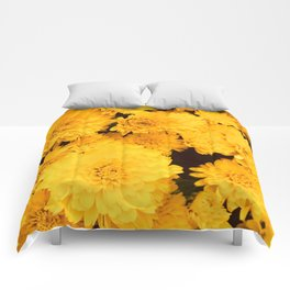 Bright Golden Holiday Mums Comforters