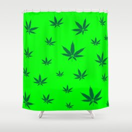 Cannabis Leaves Background Shower Curtain