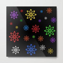 Atoms Everywhere! Multi-Color, Black Background Metal Print