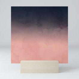 Modern abstract dark navy blue peach watercolor ombre gradient Mini Art Print