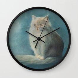 Fluffy Persian Cat Wall Clock