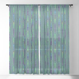 Sine Waves Abstract Watercolor Sheer Curtain