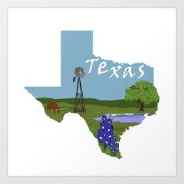 Texas: Blue Bonnet Art Print