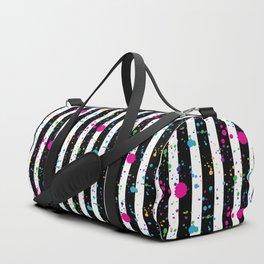 Stripes & Rainbow Splatter Duffle Bag