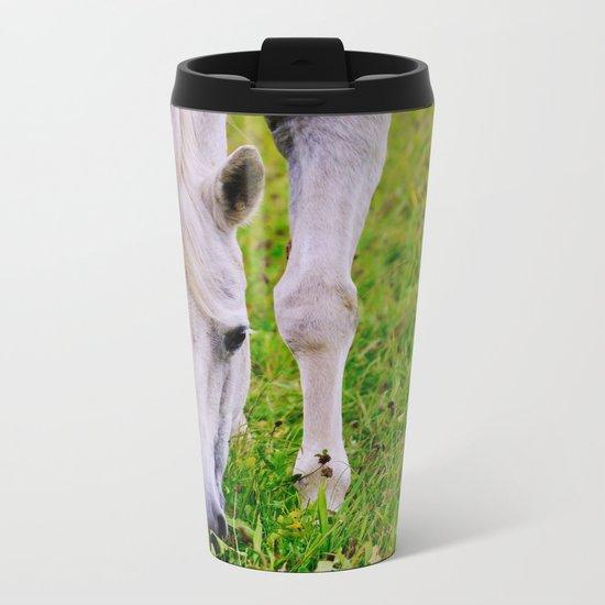 White horse on green meadow Metal Travel Mug