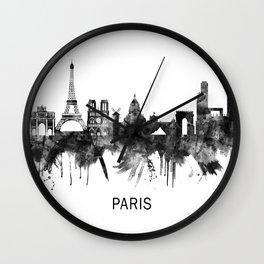Paris France Skyline BW Wall Clock