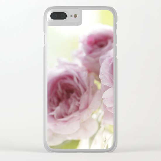 Pink Roses in crystal bowl - Vintage Stilllife- Rose Flower Clear iPhone Case