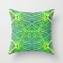 Pointy pattern in green, yellow, and blue Throw Pillow
