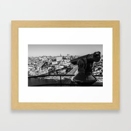 A coin operated scope and the Porto Cityscape, Porto, Portugal Framed Art Print
