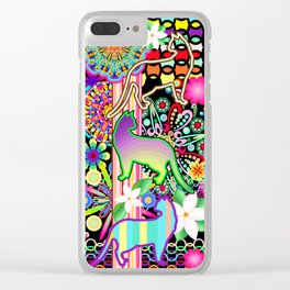 Mandalas, Cats & Flowers Fantasy Pattern Clear iPhone Case