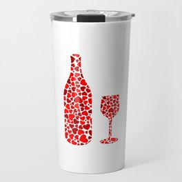 A potion of love- bottle and glass with red hearts Travel Mug