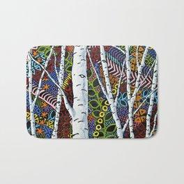 Sunset Sherbert Birch Forest (ORIGINAL ACRYLIC PAINTING) by Mike Kraus - art valentines day girl Bath Mat