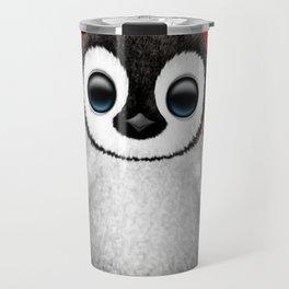 Cute Baby Penguin Dj Wearing Headphones on Red Travel Mug