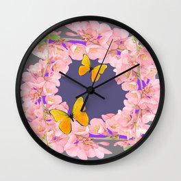 GREY PURPLE ACCENTS PINK GARDEN FLOWERS Wall Clock