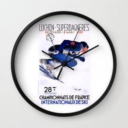 1938 Luchon Superbagneres France Ski Poster Wall Clock