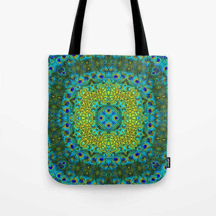 Peacock Feathers - Blue Tote Bag