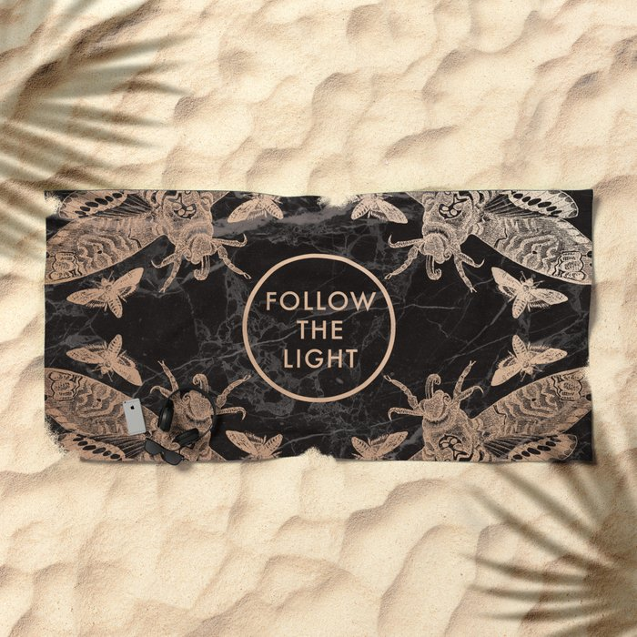 Society6 Follow the Light Quote Beach Towel