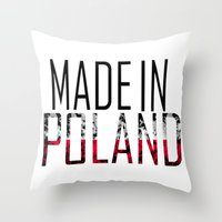 poland Throw Pillows featuring Made In Poland by VirgoSpice