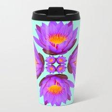Purple Lily Flower - On Aqua Blue Metal Travel Mug