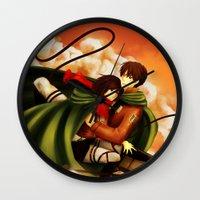 shingeki no kyojin Wall Clocks featuring Shingeki no Kyojin ~Eren & Mikasa~ by eriboook
