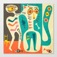 jazzberry Canvas Prints featuring A Man who Loves his Cat by Jazzberry Blue