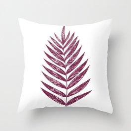 Simple Botanical Design in Dark Plum Throw Pillow