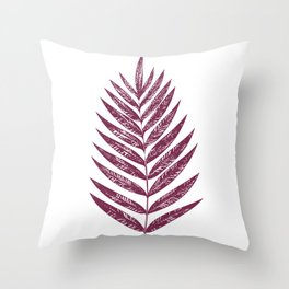 Simple Botanical Design in Dark Plum Throw Pillow