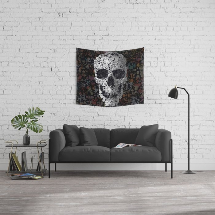 Doodle Skull Wall Tapestry