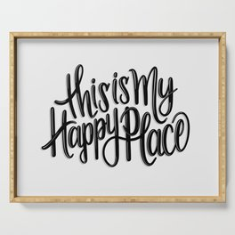 This is my happy place // Black and White // Handlettering Hand drawn Positive Illustration Art Serving Tray