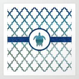 Turtle: Tropical Water Moroccan Pattern Art Print
