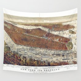 Aerial View of New York and Brooklyn, with Jersey City and Hoboken water front (1877) Wall Tapestry