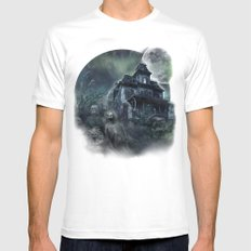 The Haunted House White Mens Fitted Tee MEDIUM