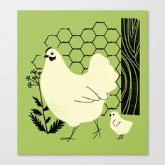 Hen and chick Canvas Print