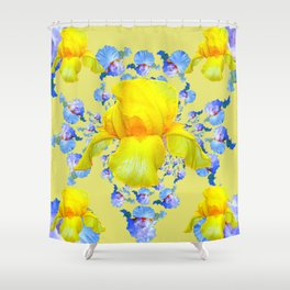 YELLOW & BLUE-WHITE IRIS BLACK ABSTRACT PATTERN Shower Curtain