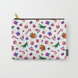Colorful Christmas watercolor pattern on white background Carry-All Pouch