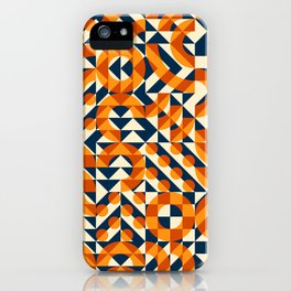 Orange Navy Color Overlay Irregular Geometric Blocks Square Quilt Pattern iPhone Case