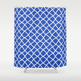 Classic blue and white curved grid pattern Shower Curtain
