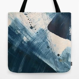 Against the Current [2]: A bold, minimal abstract acrylic piece in blue, white and gold Tote Bag