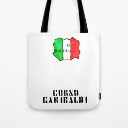 Italian flag painted of Corso Garibaldi Tote Bag