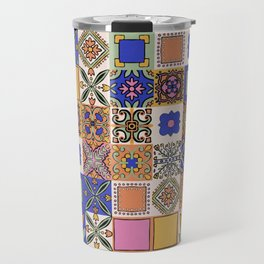 Hand Drawn Floral Patchwork Travel Mug
