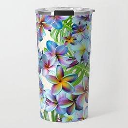 Rainbow Plumeria Pattern Travel Mug