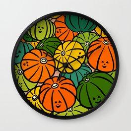 Halloween Pumpkins in Action Wall Clock