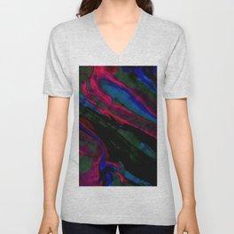 Dark Neon Marble Design Unisex V-Neck