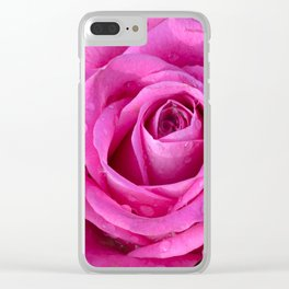 Pink rose close up with raindrops Clear iPhone Case