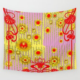 ART NOUVEAU RED & YELLOW FLORAL ABSTRACT Wall Tapestry