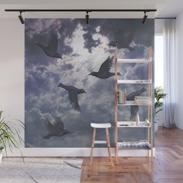 crows in the stormy sky Wall Mural