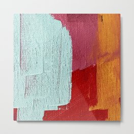 Desert Daydreams [2]: a vibrant, colorful abstract acrylic piece in pink, red, orange, and blue Metal Print